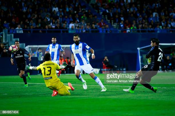 Alvaro Morata of Real Madrid CF scores their third goal during the La Liga match between CD Leganes and Real Madrid CF at Estadio Municipal de...