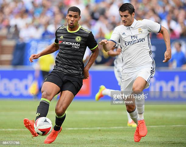 Alvaro Morata of Real Madrid closes down Ruben LoftusCheek of Chelsea during the 2016 International Champions Cup match between Real Madrid and...