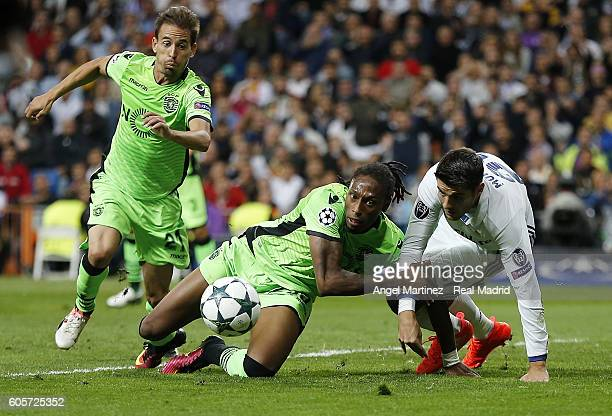 Alvaro Morata of Real Madrid competes for the ball with Alvaro Morata of Sporting Clube de Portugal during the UEFA Champions League Group F match...