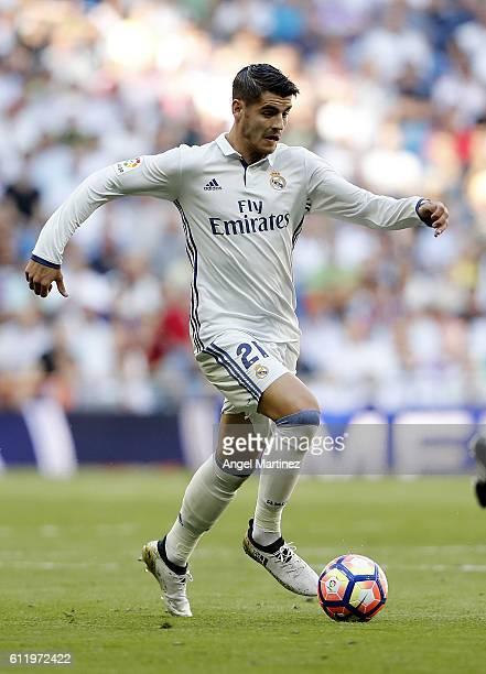 Alvaro Morata of Real Madrid in action during the La Liga match between Real Madrid CF and SD Eibar at Estadio Santiago Bernabeu on October 2 2016 in...