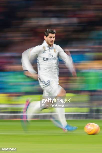 Alvaro Morata of Real Madrid in action during their La Liga match between Real Madrid and Real Sociedad at the Santiago Bernabeu Stadium on 29...