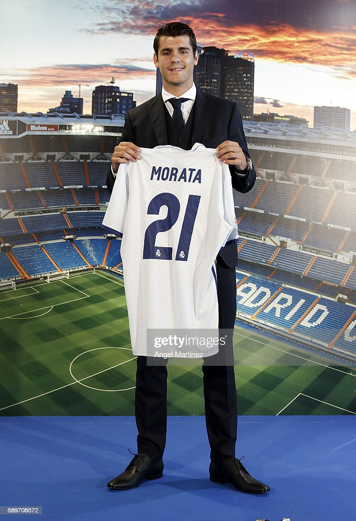 Alvaro Morata of Real Madrid poses during his official presentation at Estadio Santiago Bernabeu on August 15, 2016 in Madrid, Spain.
