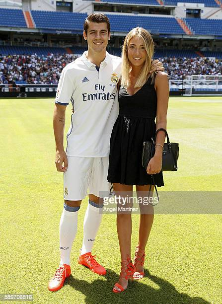 Alvaro Morata of Real Madrid poses with his girlfriend Alice Campello during his official presentation at Estadio Santiago Bernabeu on August 15 2016...