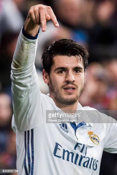 Alvaro Morata of Real Madrid reacts during their La Liga match between Real Madrid and Real Sociedad at the Santiago Bernabeu Stadium on 29 January...