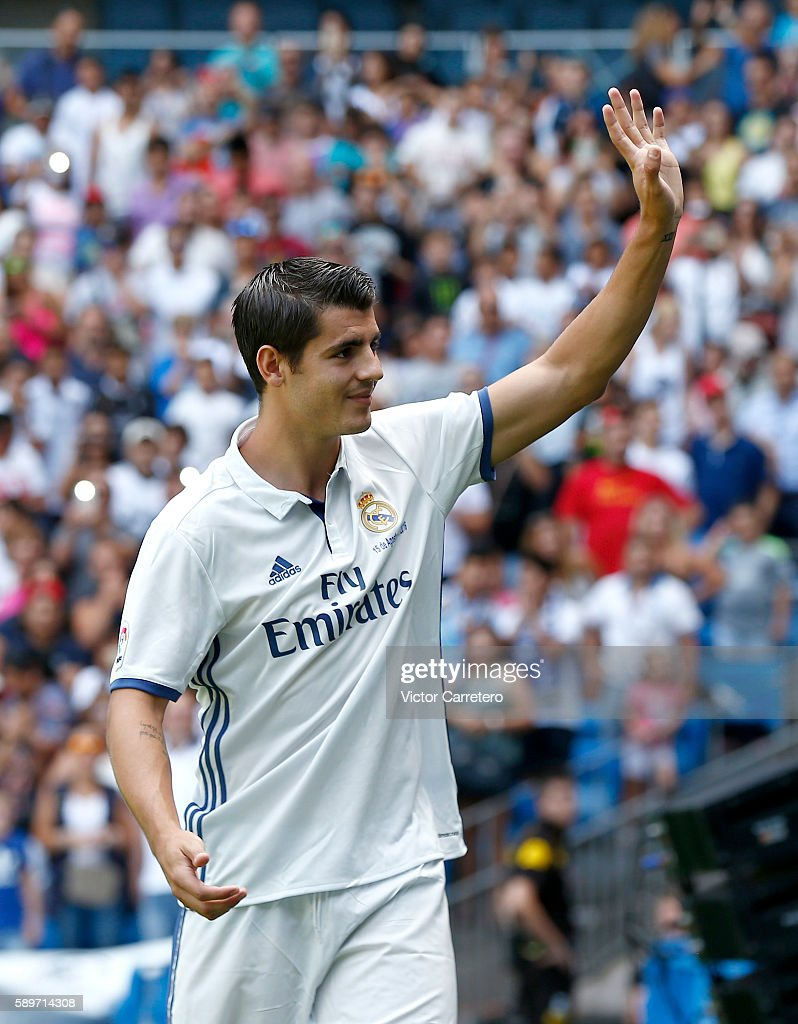 Alvaro Morata of Real Madrid waves to the fans during his official presentation at Estadio Santiago Bernabeu on August 15, 2016 in Madrid, Spain.