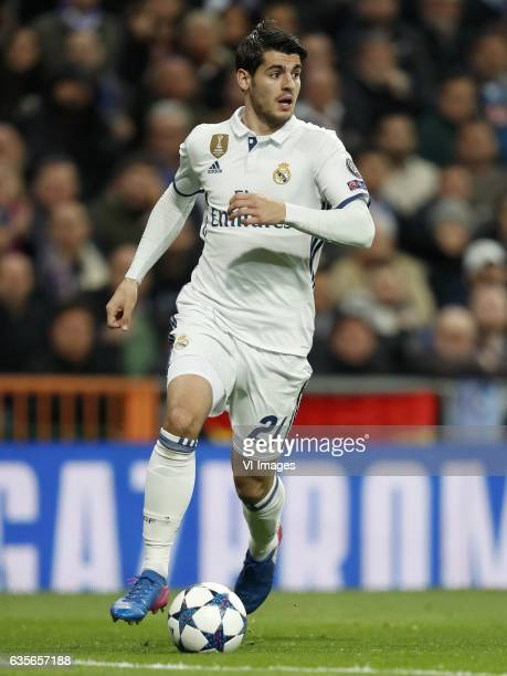 Alvaro Morata of Real Madridduring the UEFA Champions League round of 16 match between Real Madrid and SSC Napoli on February 14 2017 at the Santiago...