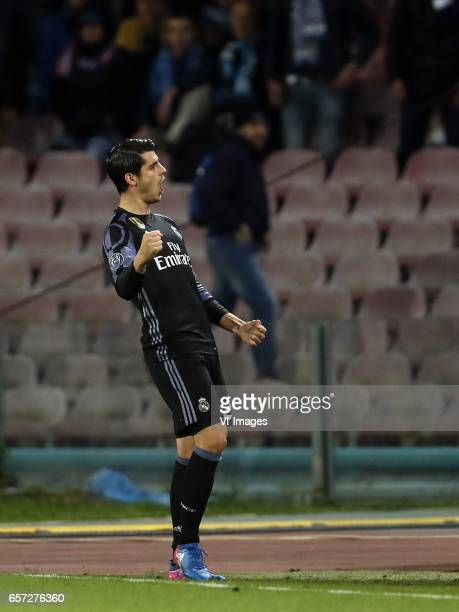 Alvaro Morata of Real Madridduring the UEFA Champions League round of 16 match between SSC Napoli and Real Madrid on March 07 2017 at the Stadio San...