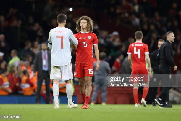 Alvaro Morata of Spain and Ethan Ampadu of Wales during the International Friendly match between Wales and Spain on October 11 2018 in Cardiff United...