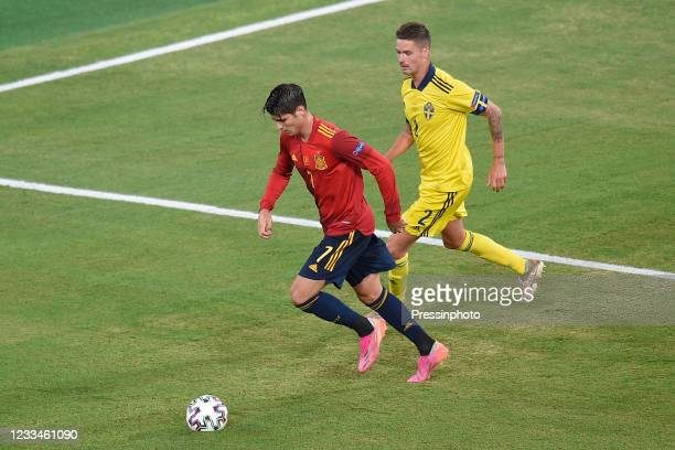 Alvaro Morata of Spain and Mikael Lustig of Sweden during the match between Spain and Sweden of Euro 2020, group E, matchday 1, played at La Cartuja...