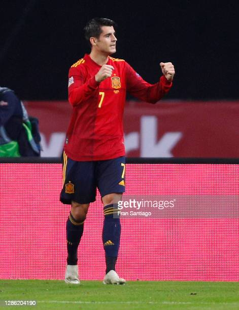 Alvaro Morata of Spain ce1 during the UEFA Nations League group stage match between Spain and Germany at Estadio de La Cartuja on November 17, 2020...