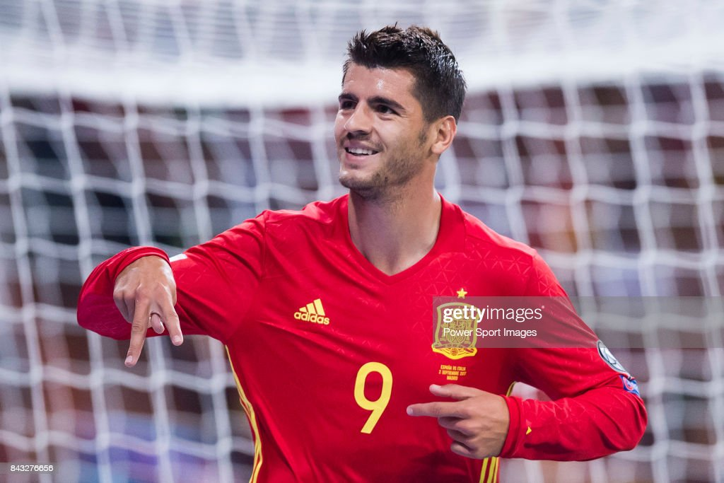 Alvaro Morata of Spain celebrates after scoring his goal during the 2018 FIFA World Cup Russia Final Qualification Round 1 Group G match between Spain and Italy on 02 September 2017, at Santiago Bernabeu Stadium, in Madrid, Spain.