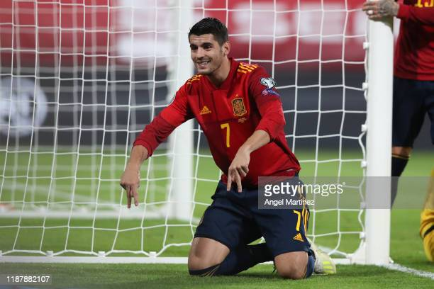 Alvaro Morata of Spain celebrates after scoring his team's first goal during the UEFA Euro 2020 Qualifier between Spain and Malta on November 15,...