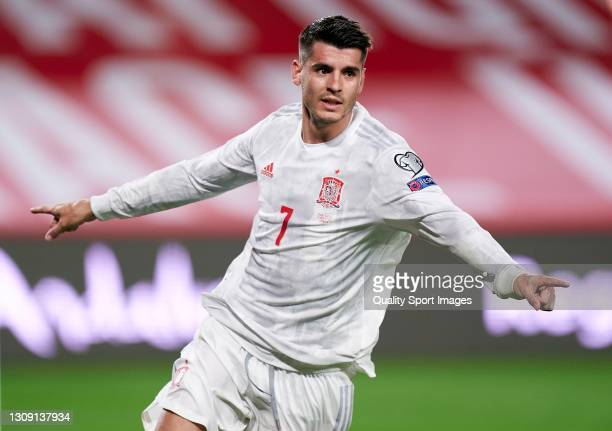 Alvaro Morata of Spain celebrates after scoring his team's first goal during the FIFA World Cup 2022 Qatar qualifying match between Spain and Greece...