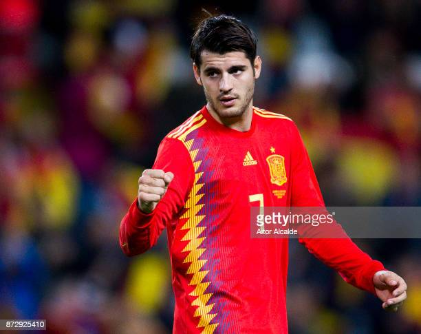 Alvaro Morata of Spain celebrates after scoring his team's second goal during the international friendly match between Spain and Costa Rica at La...