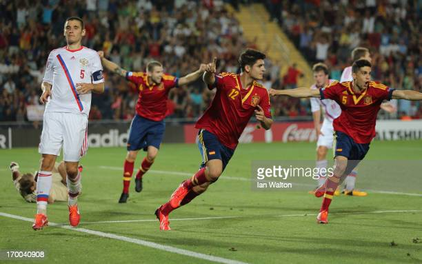 Alvaro Morata of Spain celebrates after scoring the opening goal of the UEFA European U21 Championships Group B match between Spain and Russia at...
