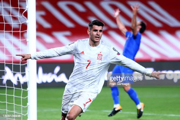Alvaro Morata of Spain celebrates after scoring their side's first goal during the FIFA World Cup 2022 Qatar qualifying match between Spain and...