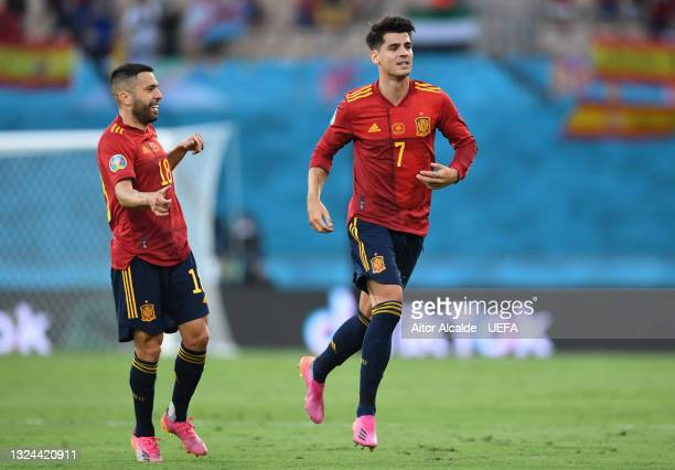 Alvaro Morata of Spain celebrates after scoring their side's first goal during the UEFA Euro 2020 Championship Group E match between Spain and Poland...