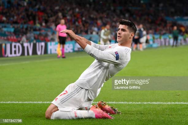 Alvaro Morata of Spain celebrates after scoring their side's first goal during the UEFA Euro 2020 Championship Semi-final match between Italy and...