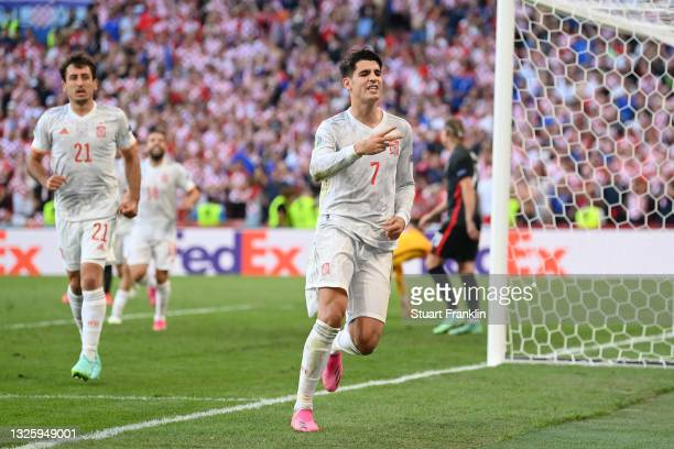 Alvaro Morata of Spain celebrates after scoring their side's fourth goal during the UEFA Euro 2020 Championship Round of 16 match between Croatia and...
