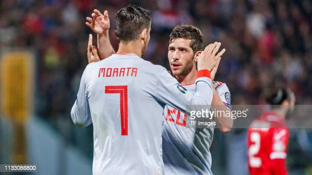 Alvaro Morata of Spain celebrates his goal with team mates during the 2020 UEFA European Championships group F qualifying match between Malta and...