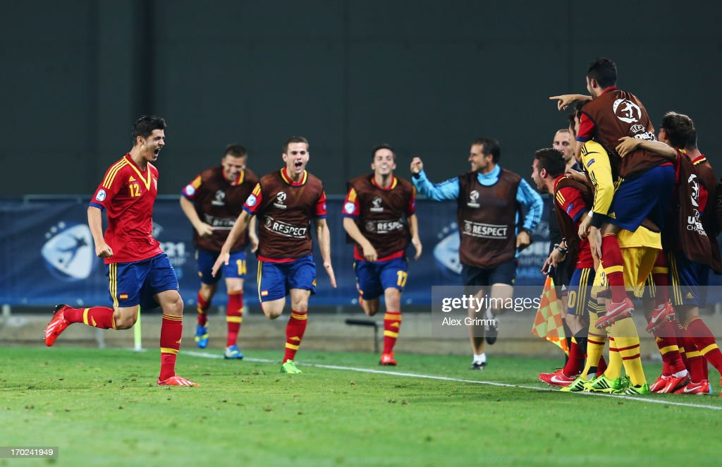 Alvaro Morata (L) of Spain celebrates his team's winning goal with team mates during the UEFA European U21 Champiosnship Group B match between Germany and Spain at Netanya Stadium on June 9, 2013 in Netanya, Israel.