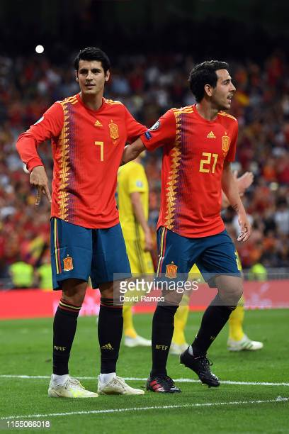 Alvaro Morata of Spain celebrates scoring during the 2020 UEFA European Championships group F match between Spain and Sweden at Bernabeu on June 10...