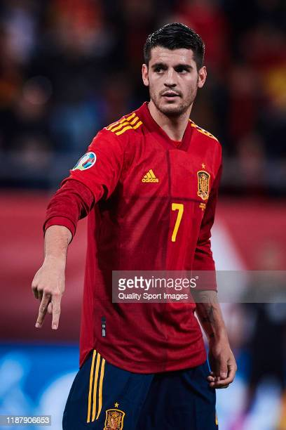 Alvaro Morata of Spain celebrates scoring his team's opening goal during the UEFA Euro 2020 Qualifier between Spain and Malta on November 15, 2019 in...