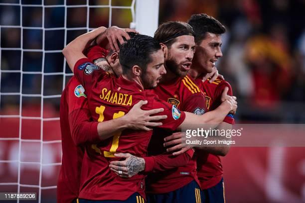Alvaro Morata of Spain celebrates scoring his team's opening goal with Sergio Ramos during the UEFA Euro 2020 Qualifier between Spain and Malta on...