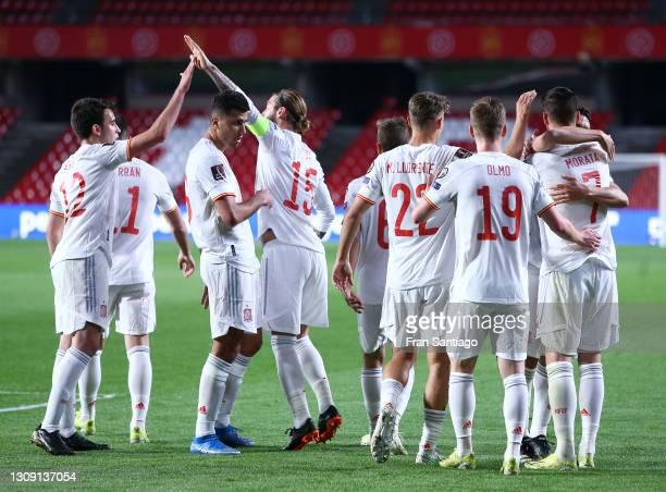 Alvaro Morata of Spain celebrates with Eric Garcia, Rodri, Sergio Ramos, Marcos Llorente and Dani Olmo after scoring their side's first goal during...