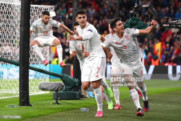 Alvaro Morata of Spain celebrates with Gerard Moreno after scoring their side's first goal during the UEFA Euro 2020 Championship Semi-final match...