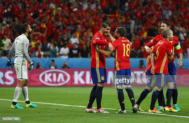 Alvaro Morata of Spain celebrates with Jordi Alba after scoring his second and his sides third goal during the UEFA EURO 2016 Group D match between...