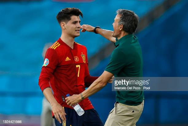 Alvaro Morata of Spain celebrates with Luis Enrique, Head Coach of Spain after scoring their side's first goal during the UEFA Euro 2020 Championship...