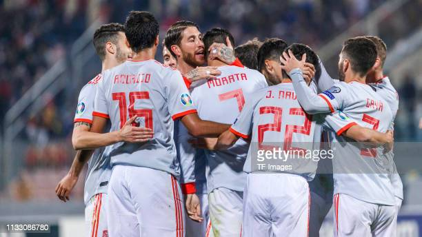 Alvaro Morata of Spain celebrates with team mates during the 2020 UEFA European Championships group F qualifying match between Malta and Spain at...