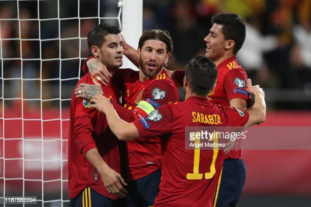 Alvaro Morata of Spain celebrates with teammates after scoring his team's first goal during the UEFA Euro 2020 Qualifier between Spain and Malta on...