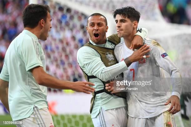 Alvaro Morata of Spain celebrates with Thiago Alcantara after scoring their side's fourth goal during the UEFA Euro 2020 Championship Round of 16...