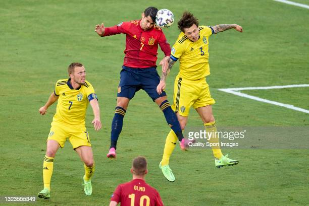 Alvaro Morata of Spain competes for the ball with Victor Lindelof of Sweden during the UEFA Euro 2020 Championship Group E match between Spain and...
