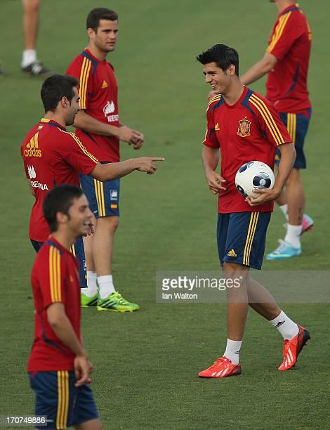 Alvaro Morata of Spain during a Spain Training Session before the UEFA European U21 Championships final at Kfar Saba Stadium on June 17 2013 in Kfar...