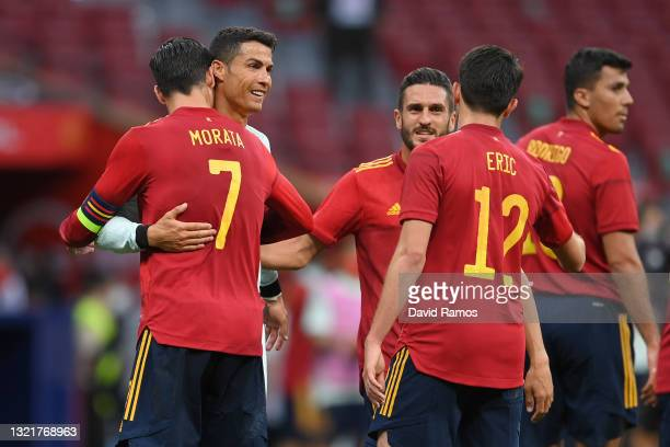 Alvaro Morata of Spain embraces Cristiano Ronaldo of Portugal at the end of the international friendly match between Spain and Portugal at Estadio...