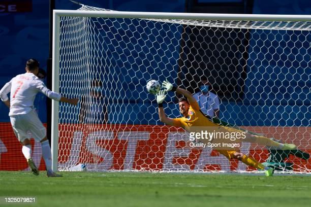 Alvaro Morata of Spain fails to score a penalty during the UEFA Euro 2020 Championship Group E match between Slovakia and Spain at Estadio La Cartuja...