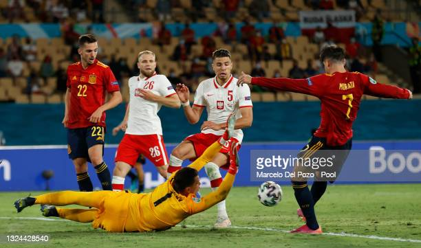 Alvaro Morata of Spain has a shot saved by Wojciech Szczesny of Poland during the UEFA Euro 2020 Championship Group E match between Spain and Poland...