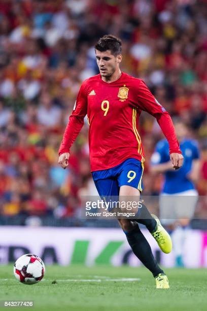Alvaro Morata of Spain in action during the 2018 FIFA World Cup Russia Final Qualification Round 1 Group G match between Spain and Italy on 02...