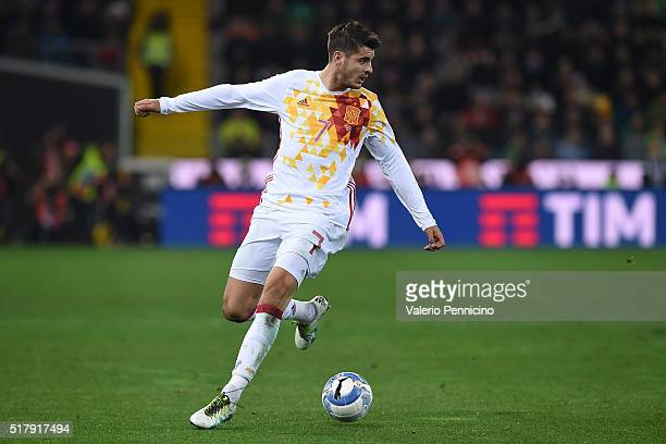 Alvaro Morata of Spain in action during the international friendly match between Italy and Spain at Stadio Friuli on March 24 2016 in Udine Italy