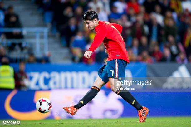 Alvaro Morata of Spain in action during the international friendly match between Spain and Costa Rica at La Rosaleda Stadium on November 11 2017 in...