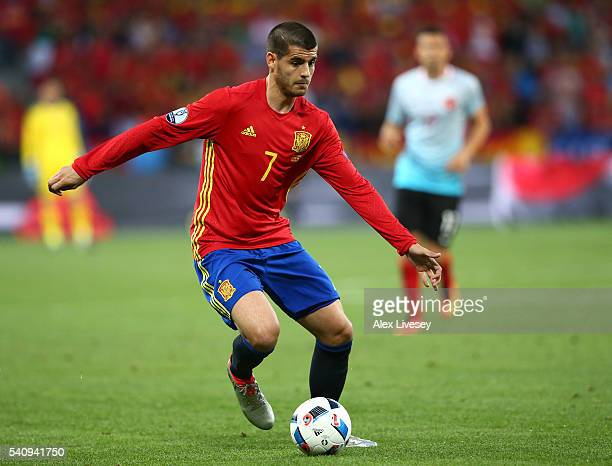 Alvaro Morata of Spain in action during the UEFA EURO 2016 Group D match between Spain and Turkey at Allianz Riviera Stadium on June 17 2016 in Nice...