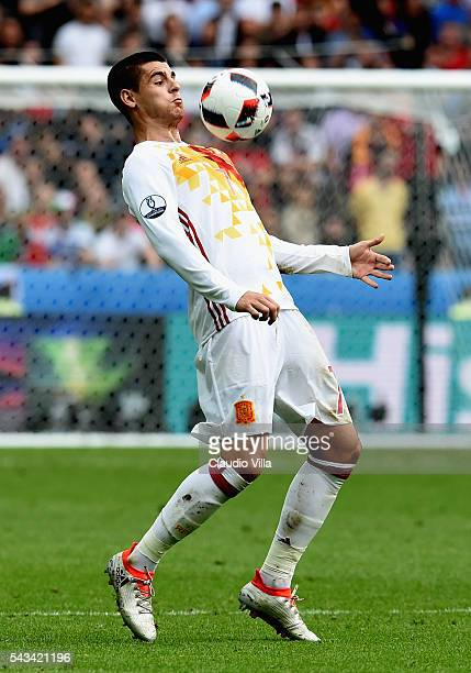 Alvaro Morata of Spain in action during the UEFA EURO 2016 round of 16 match between Italy and Spain at Stade de France on June 27 2016 in Paris...