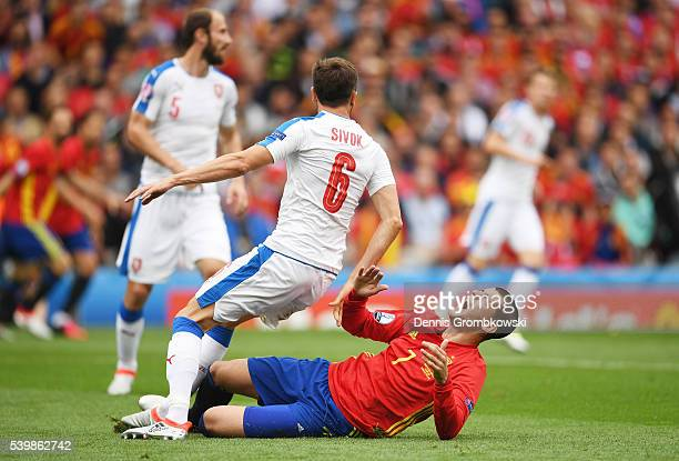Alvaro Morata of Spain is challenged by Tomas Sivok of Czech Republic during the UEFA EURO 2016 Group D match between Spain and Czech Republic at...