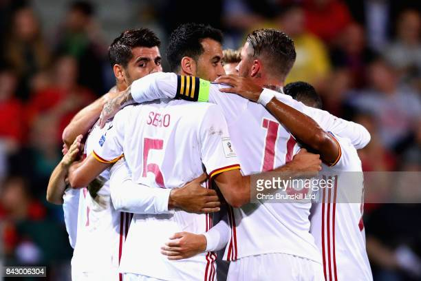 Alvaro Morata of Spain is congratulated by his teammates after scoring his sides second goal during the FIFA 2018 World Cup Qualifier between...