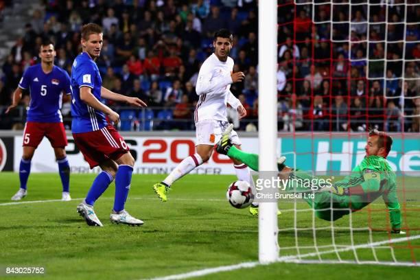 Alvaro Morata of Spain is denied by Peter Jehle of Liechtenstein during the FIFA 2018 World Cup Qualifier between Liechtenstein and Spain at...