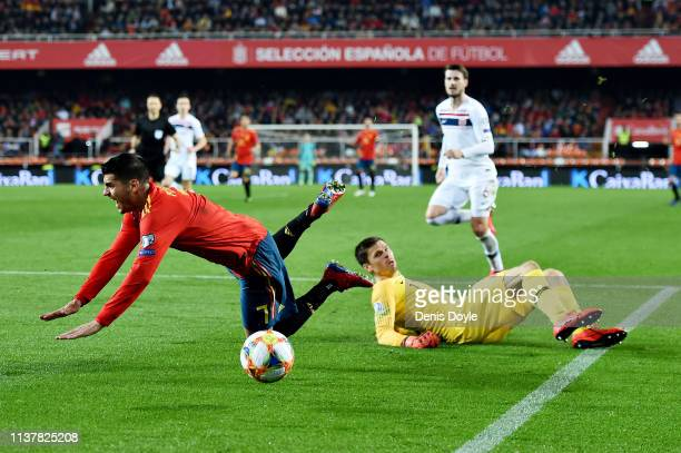 Alvaro Morata of Spain is fouled by Rune Jarstein of Norway leading to a penalty during the 2020 UEFA European Championships group F qualifying match...
