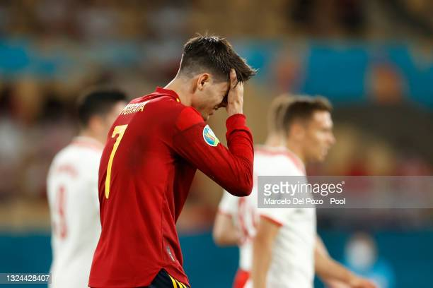 Alvaro Morata of Spain looks dejected during the UEFA Euro 2020 Championship Group E match between Spain and Poland at Estadio La Cartuja on June 19,...